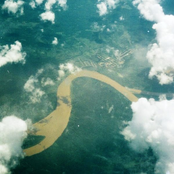 Amazon River and rainforest from the air