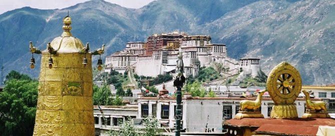 Potala Palace from roof of Jokhang in Lhasa, Tibet