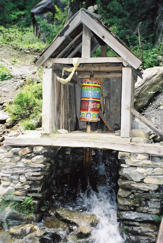 Water prayer wheel on Nepal's Annapurna Trail