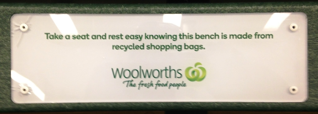 A bench made of recycled plastic bags at a grocery store in Townsville, Australia