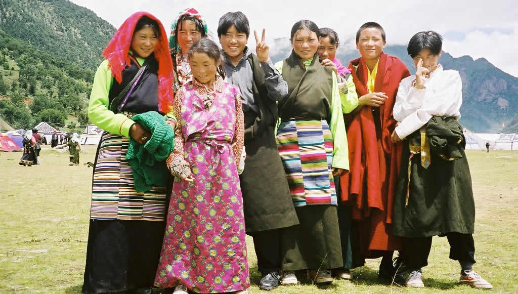 Local children at a Buddhist festival in Reting, Tibet