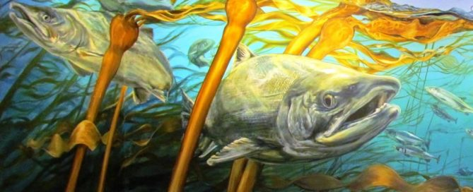 Mural in the Vancouver Four Seasons lobby depicting underwater scene of Burrard Inlet and Lion's Gate Bridge. West Coast Perspective by Tyler Toews, 2019, Acrylic on Canvas.