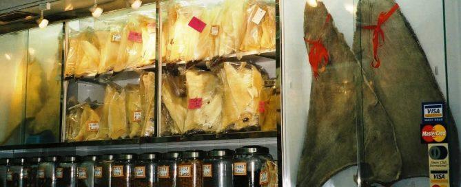 Shark fins for sale in a Hong Kong restaurant