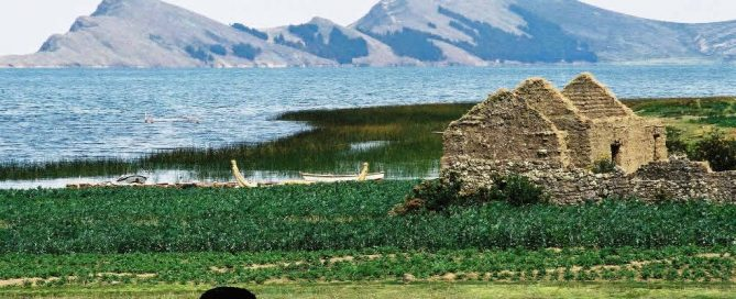 Lake Titicaca in Bolivia with Isla del Sol, reed canoe, farmhouse ruins and alpaca grazing