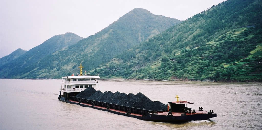 A Coal Barge plies the Yangtze River in Central China