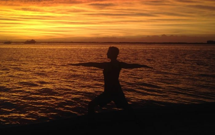 Yoga and scuba diving at sunset in La Paz, Mexico